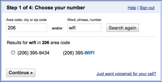 Google Voice number choice dialog