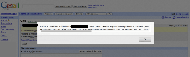 Screenshot of the Stored XSS vulnerability triggered