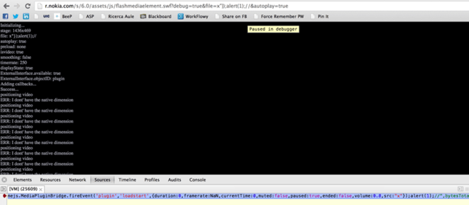 Screenshot of the XSS vulnerability triggered